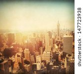 Stock photo vintage image of new york city manhattan skyline at sunset 147723938