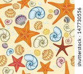sea snail  shells and starfish...   Shutterstock .eps vector #147730556
