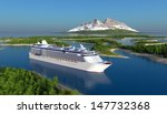 passenger ship on the river. | Shutterstock . vector #147732368