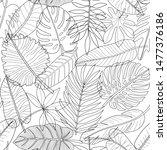 leaves of tropical plants black ...   Shutterstock .eps vector #1477376186