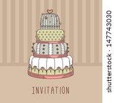 invitation with wedding cake | Shutterstock .eps vector #147743030
