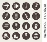 hairdressing equipment icons | Shutterstock .eps vector #147743753