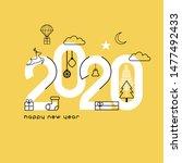 happy new year 2020. vector... | Shutterstock .eps vector #1477492433