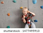 Cute Little Girl In Climbing Gym