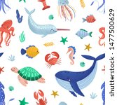 seamless pattern with funny... | Shutterstock .eps vector #1477500629