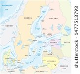 map of the baltic sea the... | Shutterstock . vector #1477513793