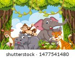 jungle animals in a forest... | Shutterstock .eps vector #1477541480