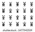 Windmill Silhouette Icons Set....