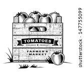 Retro Crate Of Tomatoes Black...