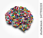 world flags and brain .... | Shutterstock .eps vector #1477552223