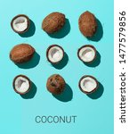 bright pattern with coconut.... | Shutterstock . vector #1477579856