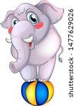gray elephant on ball on white... | Shutterstock .eps vector #1477629026