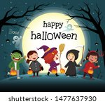 happy halloween card with cute...