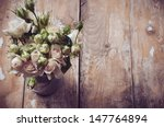 bouquet of roses in metal pot... | Shutterstock . vector #147764894