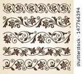 Vector set of floral elements. Seamless pattern for frames and borders