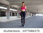 athletic beautiful woman... | Shutterstock . vector #1477686173