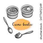 creme brulee. ink sketch... | Shutterstock .eps vector #1477692149