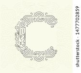 mono line style geometric font ... | Shutterstock . vector #1477702859