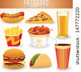 fast food vector icons. hot dog ... | Shutterstock .eps vector #147772220