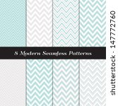 "Chevron Patterns in Aqua Blue, White and Silver Gray. Pattern Swatches made with Global Colors. Matches my other ""Modern White Christmas Backgrounds"" Image ID: 128027708, 118541659."