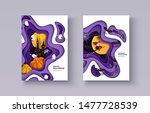 happy halloween 3d papercut... | Shutterstock .eps vector #1477728539