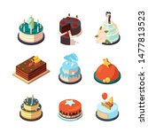 party cakes. sweet tasty food... | Shutterstock .eps vector #1477813523