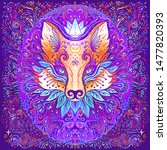 cute fox face over psychedelic... | Shutterstock .eps vector #1477820393