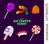 Set Of Haloween Candy Vector...