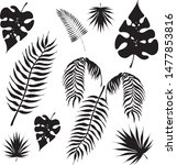 tropical leaves silhouettes... | Shutterstock .eps vector #1477853816