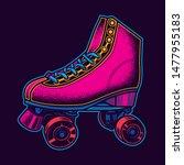 Vintage Roller Skates In Neon...