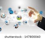 businessman holding social... | Shutterstock . vector #147800060