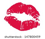 print of red lips. vector... | Shutterstock .eps vector #147800459