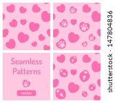 set of pink seamless patterns... | Shutterstock .eps vector #147804836