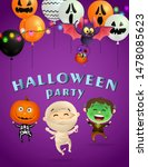 halloween party greeting card... | Shutterstock .eps vector #1478085623