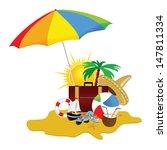 beach with stuff art vector... | Shutterstock .eps vector #147811334