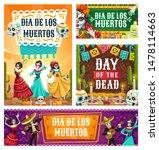 dancing skeletons of dia de los ... | Shutterstock .eps vector #1478114663