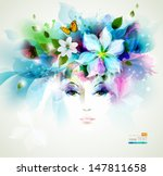 beautiful fashion women face... | Shutterstock .eps vector #147811658