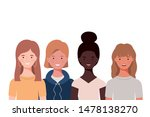 young women on white background | Shutterstock .eps vector #1478138270