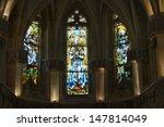 The stained glass windows inside Chapel St. Hubert where Leonardo Da Vinci is buried in Amboise, France.