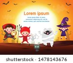 happy halloween kids costume... | Shutterstock .eps vector #1478143676