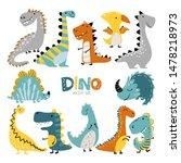 dinosaurs vector set in cartoon ...   Shutterstock .eps vector #1478218973