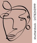 one line continuous face... | Shutterstock . vector #1478243999