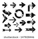 grunge destroyed arrows. set of ... | Shutterstock .eps vector #147828446