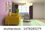 interior of the living room. 3d ...   Shutterstock . vector #1478285279