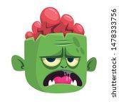 cartoon funny green zombie with ...
