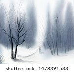 Man On Snowy Path In Winter...