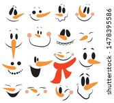 Set Of Faces Of Snowmen....