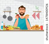 man is eating healthy food and... | Shutterstock .eps vector #1478400926