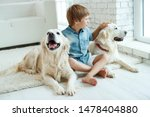 Stock photo a child with a dog little boy with a dog at home 1478404880