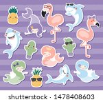 big set of cute stickers with... | Shutterstock .eps vector #1478408603